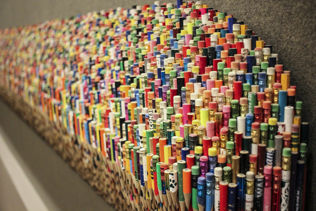 Pencil art piece at the AC Hotel in Downtown Portland.