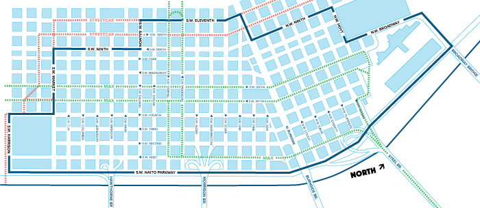The Downtown Portland Clean & Safe district is a 213-block enhanced service area in Downtown Portland. District boundaries are: At the South end of the district, starting at Naito Parkway and SW Harrison St., heading West to SW 4th Ave. Turning North along SW 4th Ave. to SW Market St. Turning West along SW Market St. to SW 9th Ave. Turning North along SW 9th Ave. to SW Salmon St. Turning West along SW Salmon St. to SW 11th Ave. Turning North along SW 11th Ave. to W Burnside Turning East along W Burnside to NW 9th Ave. Turning North along NW 9th Ave. to NW Hoyt St. Turning East along NW Hoyt St. to NW Broadway Turning North along NW Broadway to NW Lovejoy St. Turning East along NW Lovejoy St. to NW Naito Parkway Returning along NW Naito Parkway heading South the entire length back to SW Harrison St.