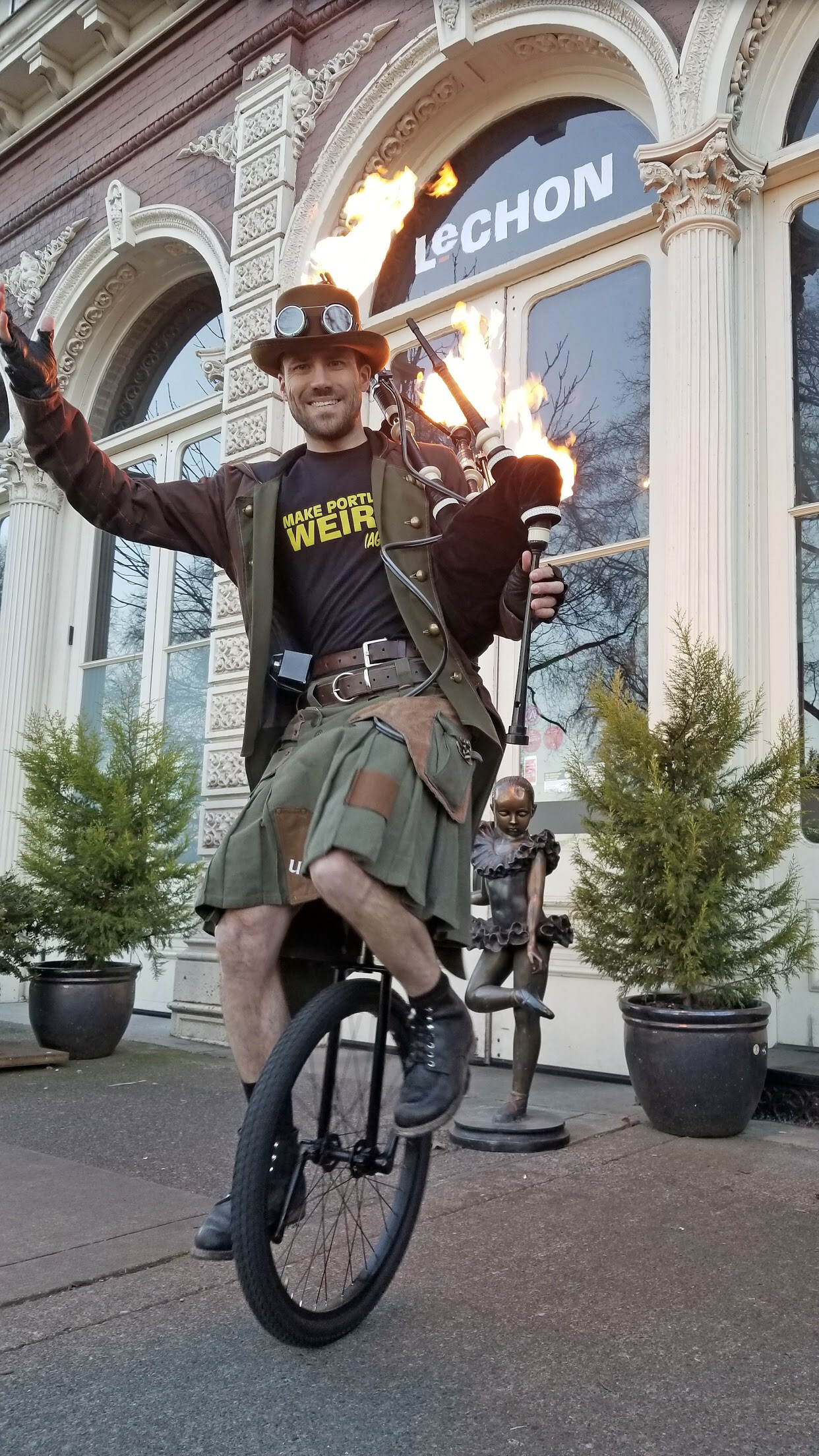 The Unipiper makes his way through Downtown Portland.