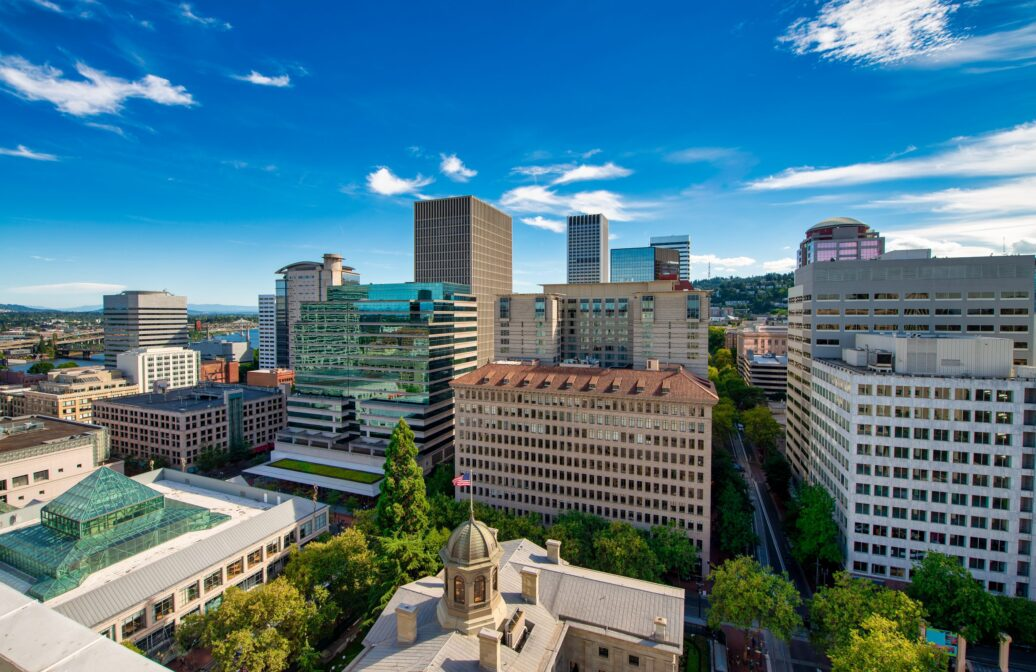 Aerial shot of Downtown Portland